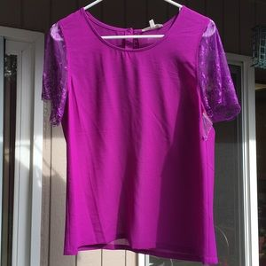 NWT Cute purple blouse with lace sleeves